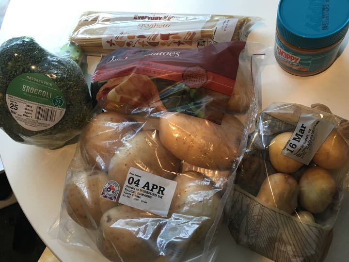 Potatos, broccoli, spaghetti and peanut butter