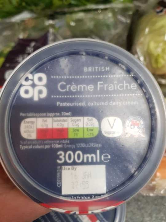 To be collected by 10pm     creme fraiche