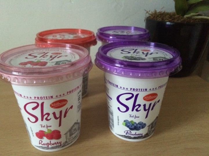 4 Skir Icelandic style yoghurts. Low in fat, sugar. High in protein