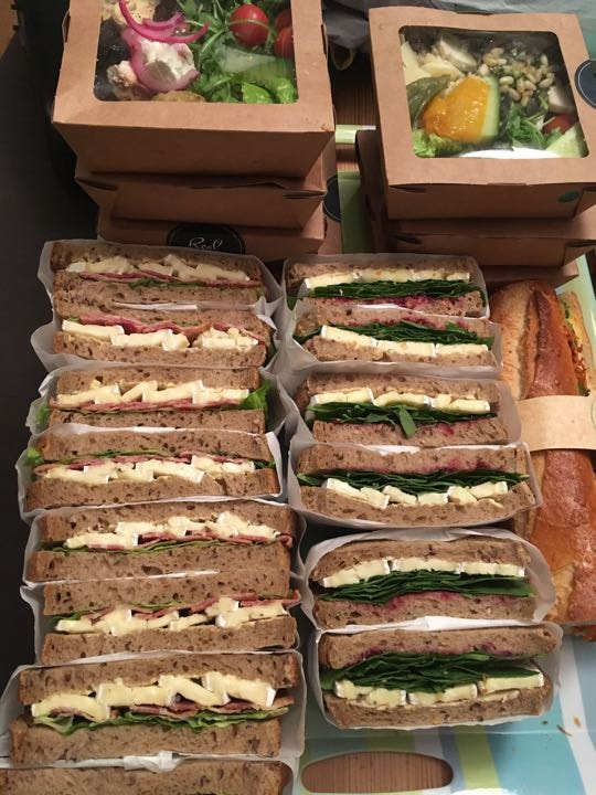 Sandwiches and salad boxes