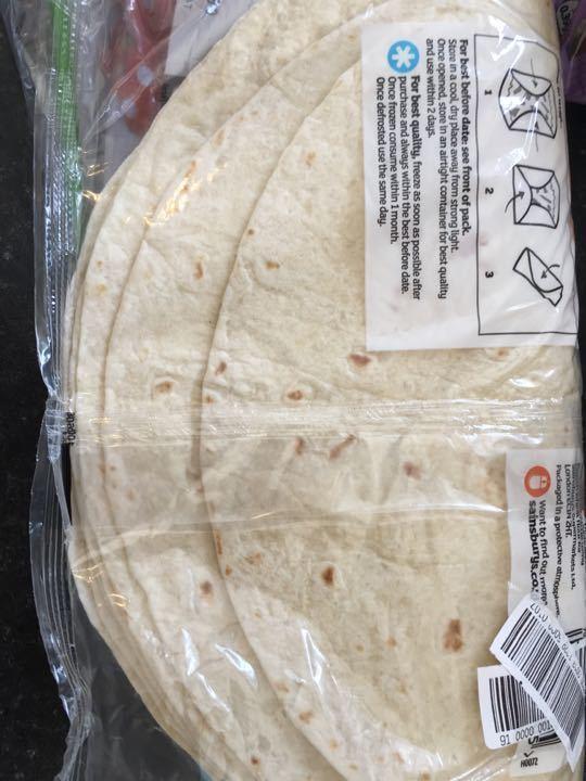 Pack 8 plain tortilla wraps