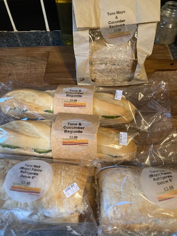 Tuna sandwiches and panini