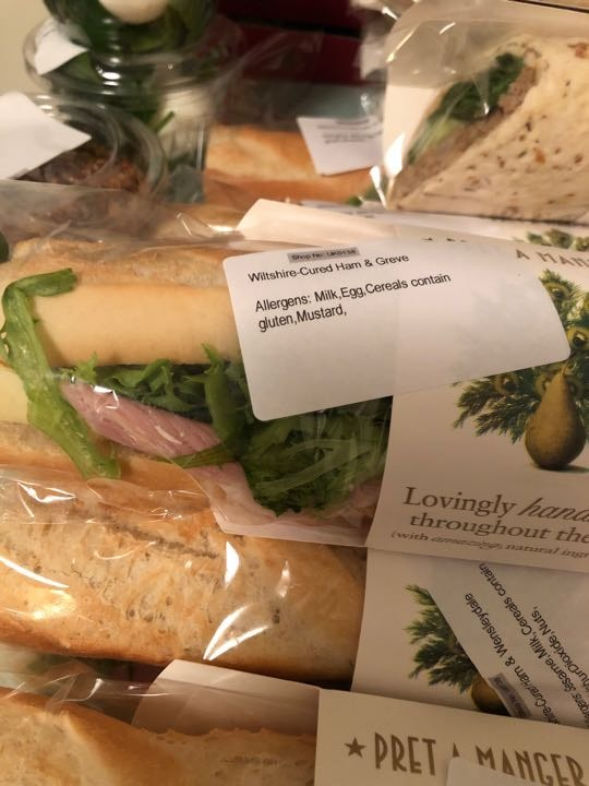 Wiltshire ham and grieve baguette AND ham and cheese sandwiches