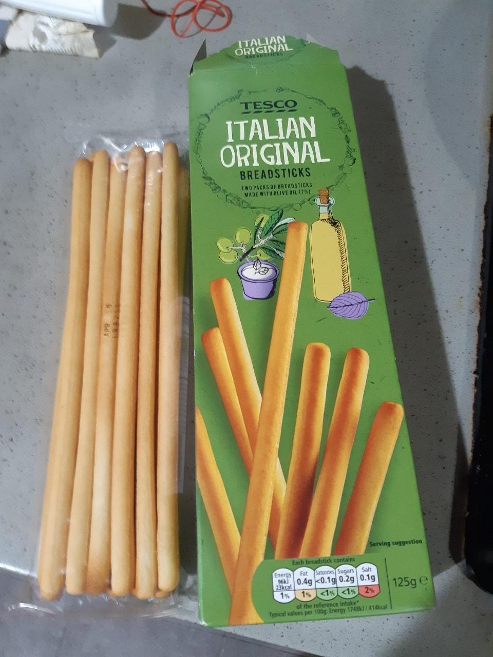 Tesco brand breadsticks. One unopened pack left.