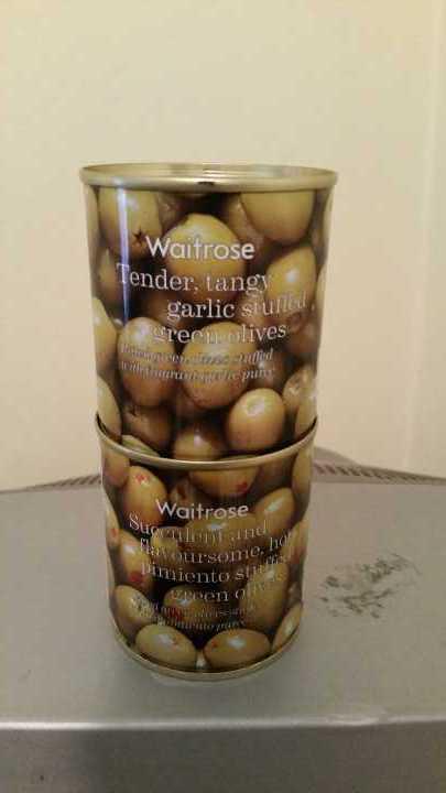 2 tins of garlic stuffed green olives
