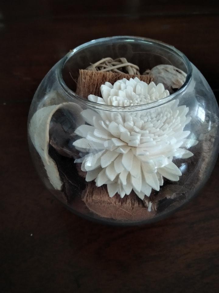 Beautiful pot pourri in glass globe