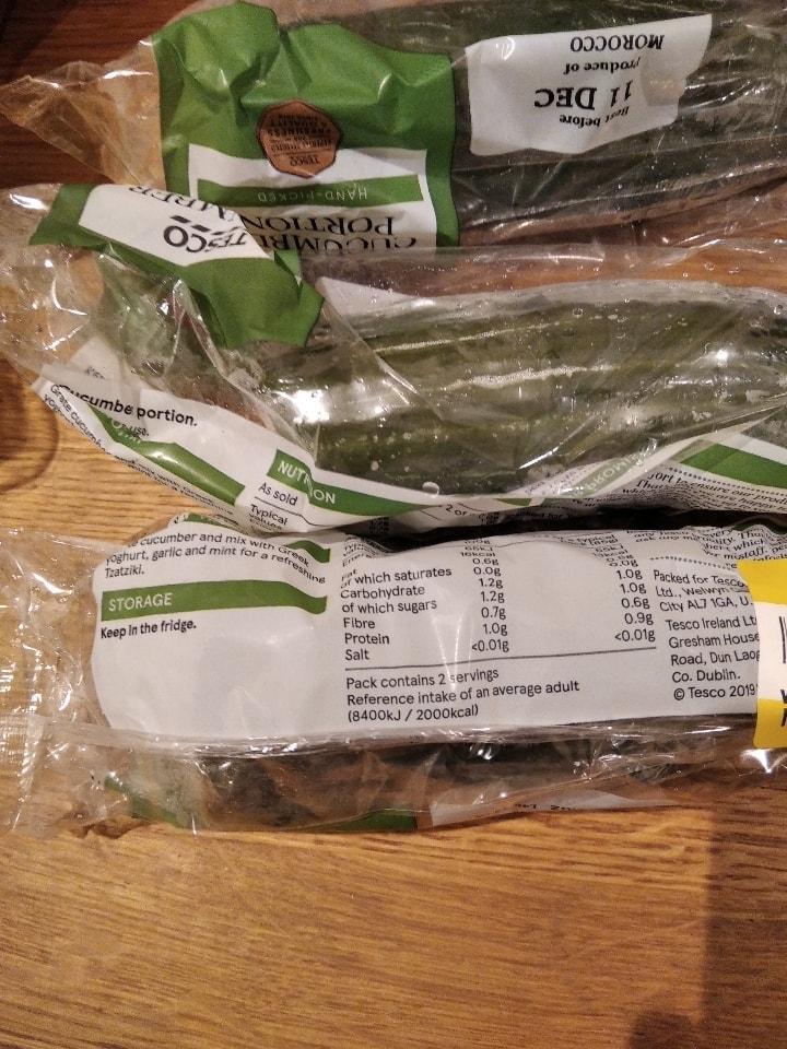 Cucumber portion