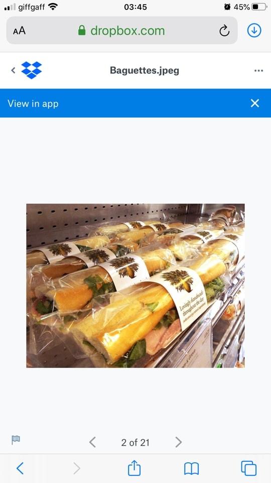 Pret posh cheddar and pickle baguette