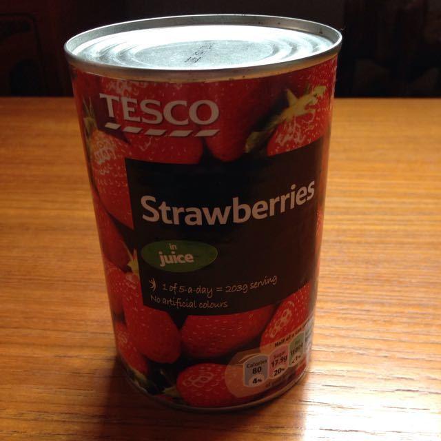 Tesco tin of strawberries