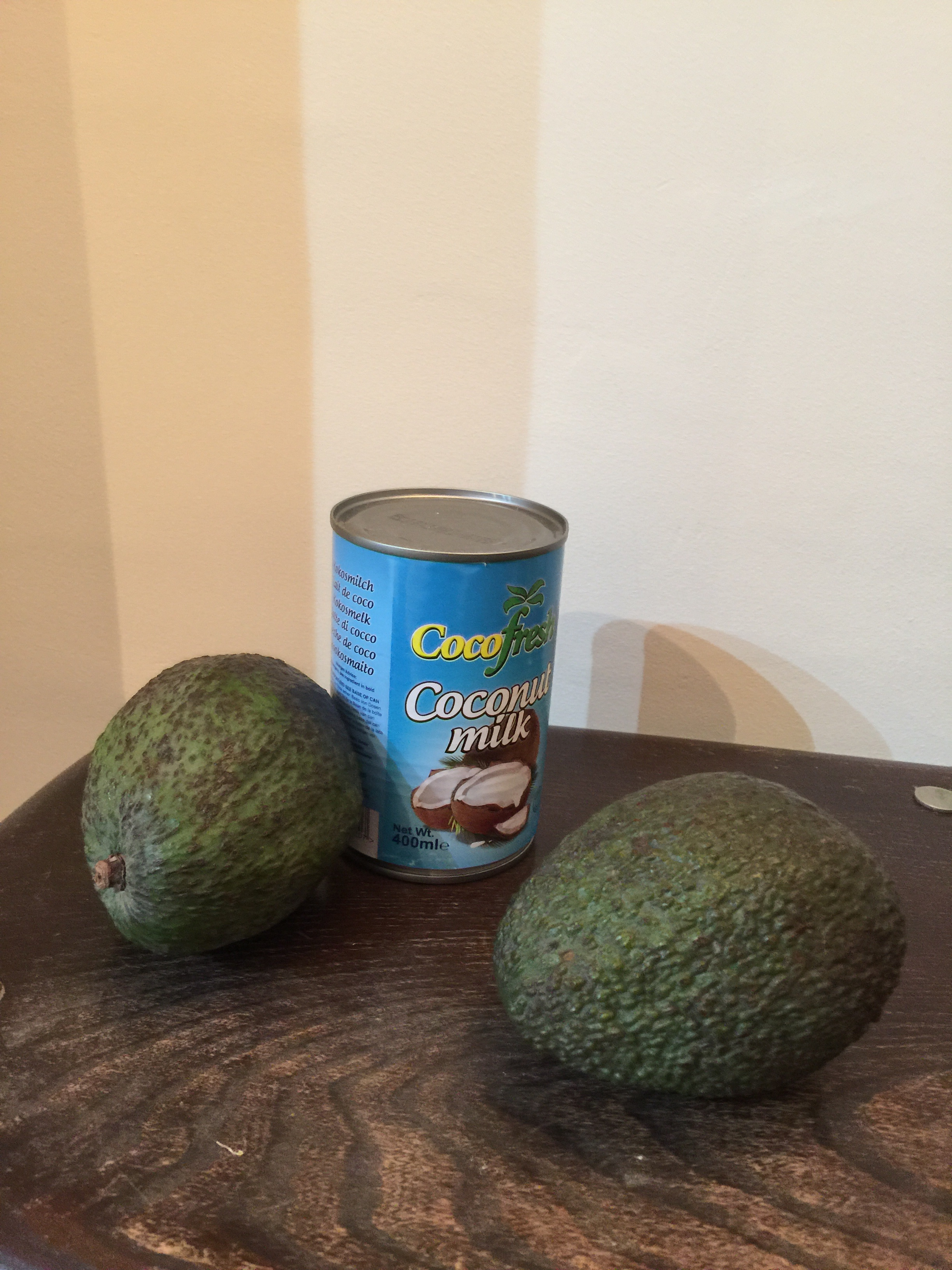 2 ripe avocados and a tin of coconut milk
