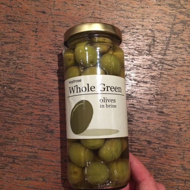 Whole green olives in brine