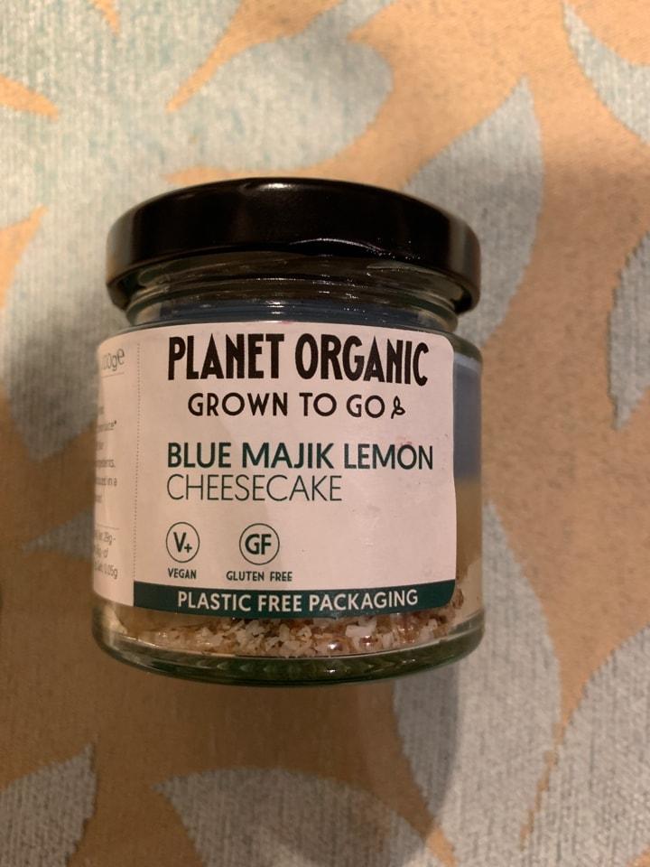 4 blue majik lemon cheesecake vegan and gluten free jars from Planet Organic