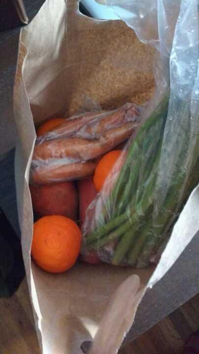Small bag of organic fruits and veg