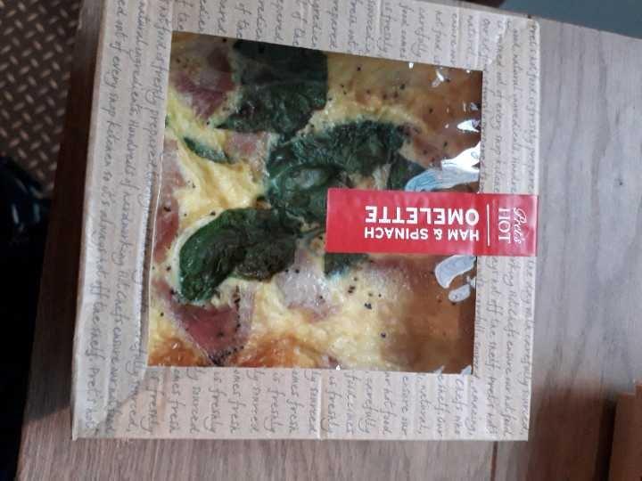 Pret ham and spinach omlette x7 and 3 veggie egg white omlettes