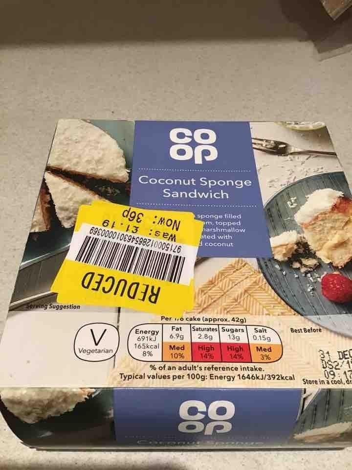 Coconut sponge sandwich cake