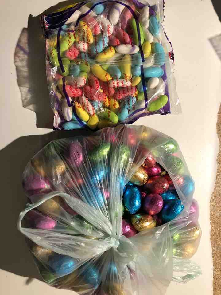 Mini egg chocolates and jelly beans