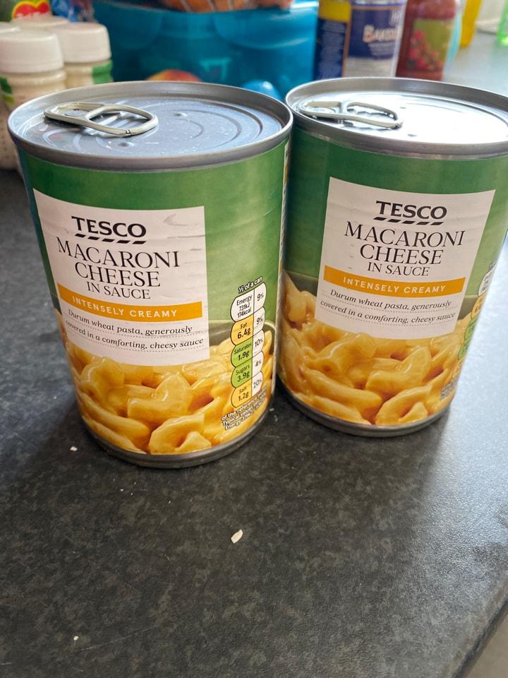 Two tins macaroni cheese