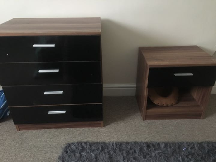 Bedside table and drawers in