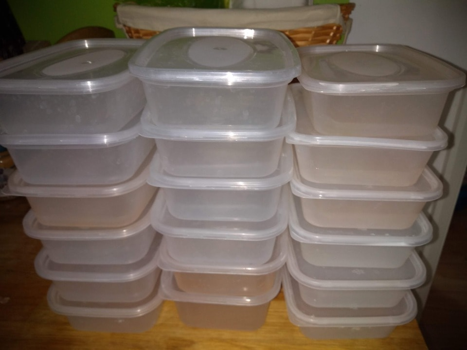 Used washed plastic food takeaway containers