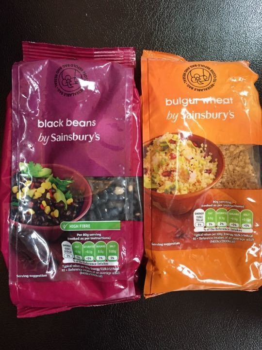 Black beans and bulgur wheat (unopened bags)