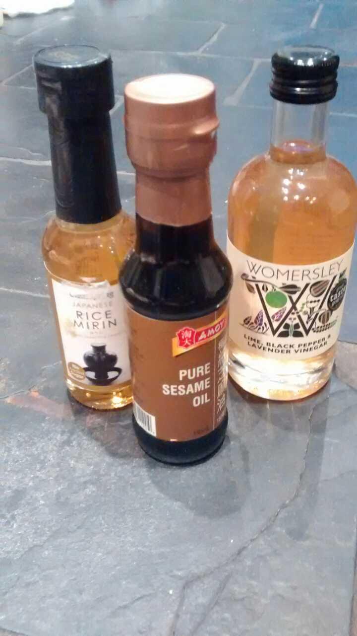 Mirin, sesame oil and flavoured vinegar