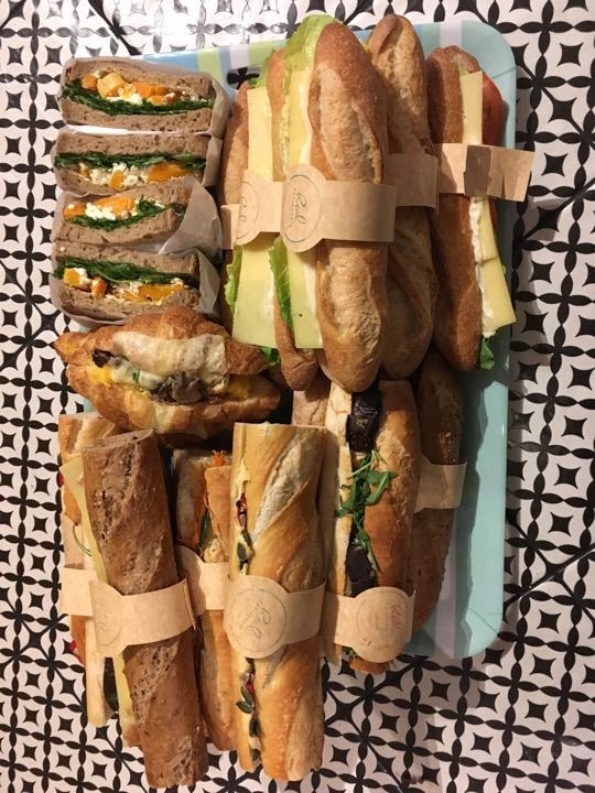 Vegetarian filled baguette, sandwiches and croissants.
