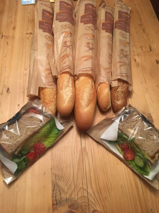 Fresh baguettes and a couple of sandwiches