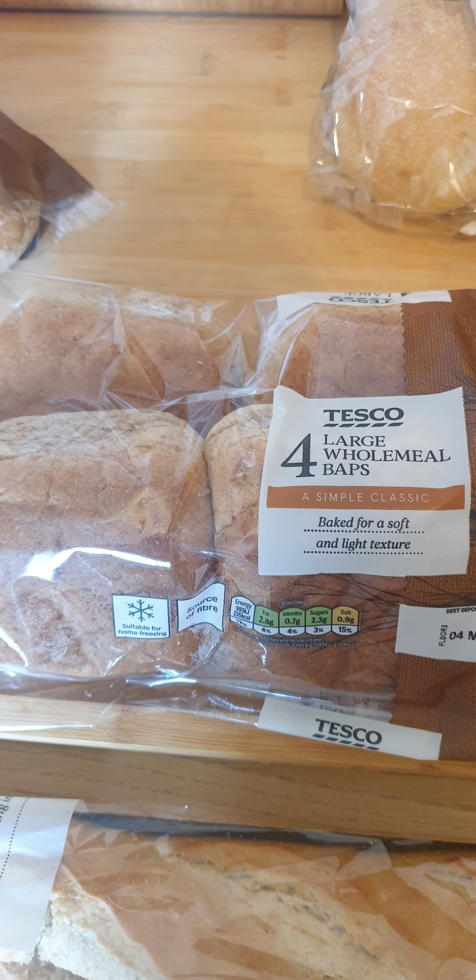 4 pack of large wholemeal baps