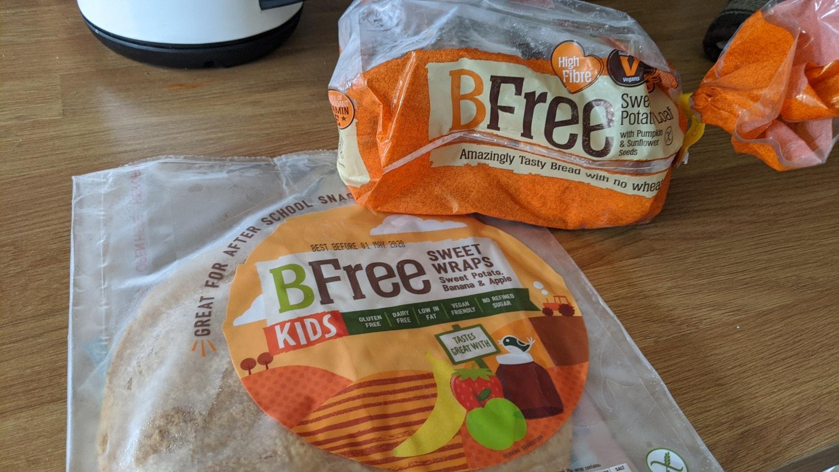 Gluten free bread X 3, gluten free sweet wraps X 10