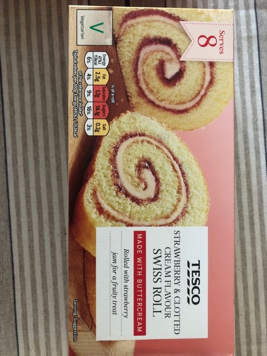 Strawberry and clotted cream Swiss roll