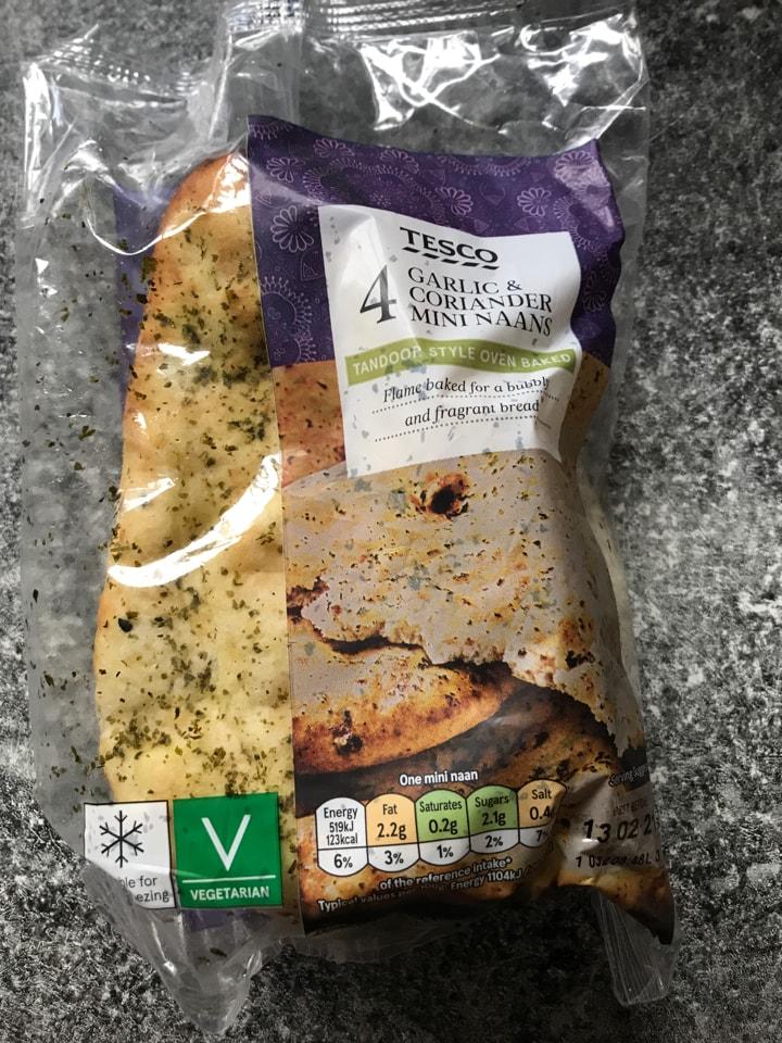 4 mini garlic and coriander mini naans - 4 available