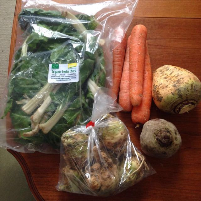 Organic root veg and chard