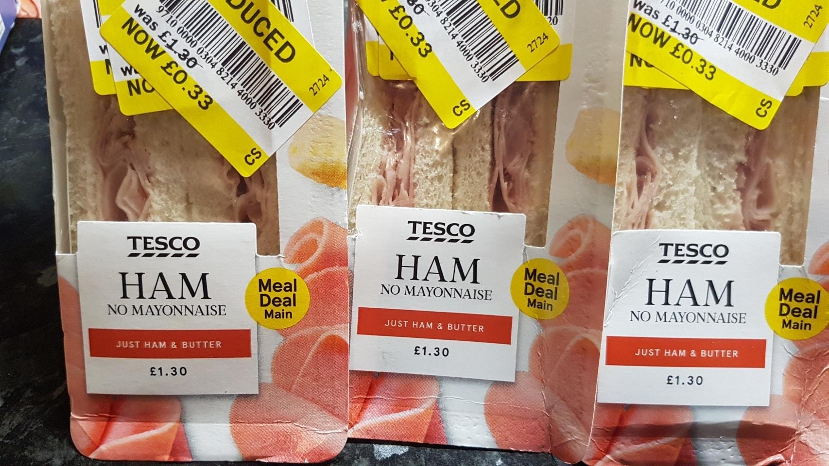 Ham no mayo sandwich