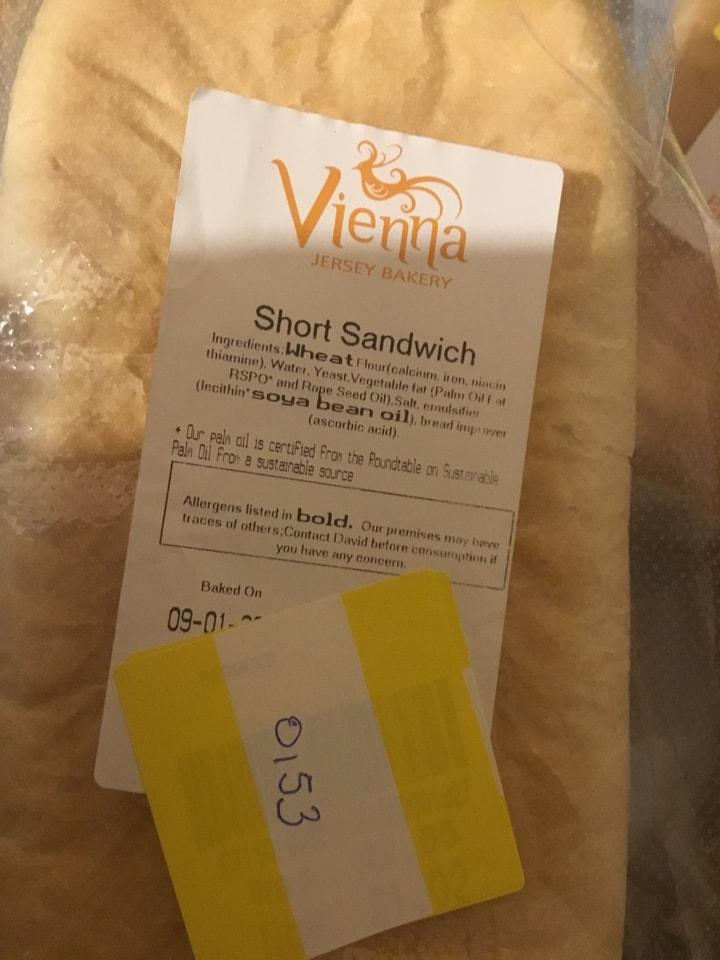 Vienna short sandwich unsliced