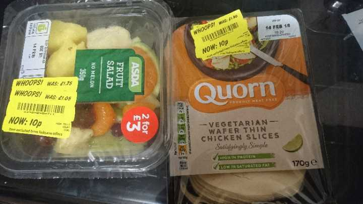 Quorn chicken slices (only no fruit pots)