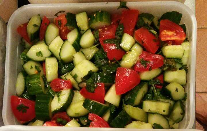 Tomato, cucumber, parsley salad