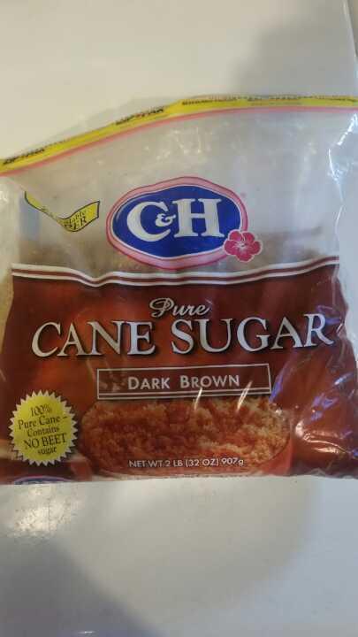 Open bag of brown cane sugar