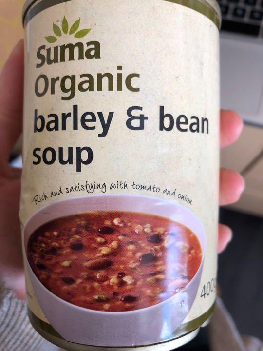 Organic barley and bean soup