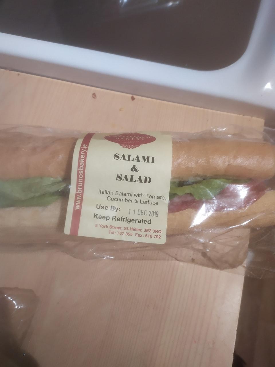 Salami and salad baguette
