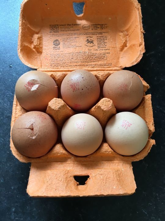 6 eggs (3 cracked still can be used)