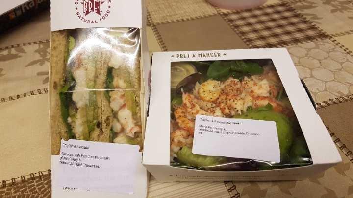 Pret Manger Crayfish Sandwich and Salad