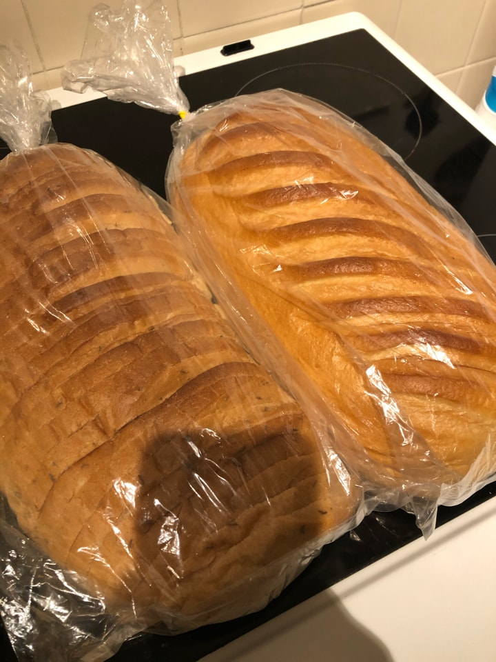 2 large white bread loaves