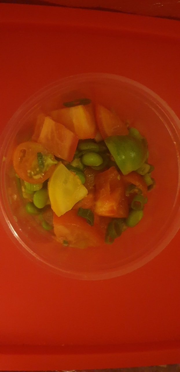 Heritage tomato and broad bean salad. from tobacco docks.