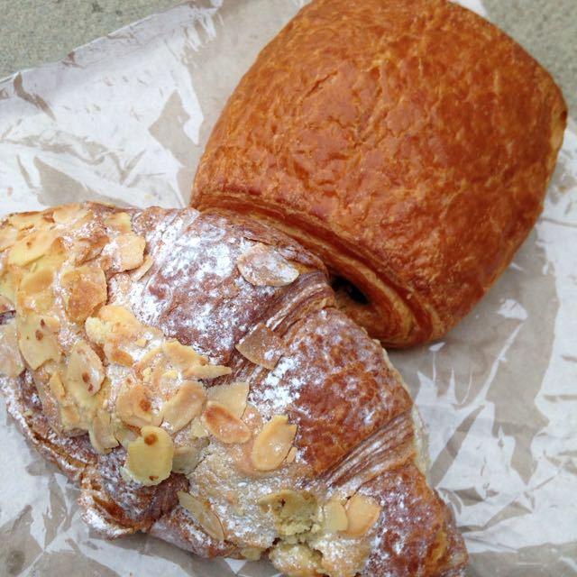 Almond croissant + pain au chocolate