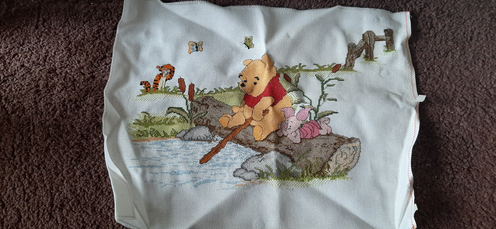 completed Pooh cross stitch