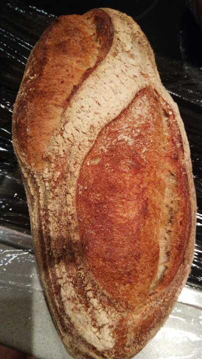 Freshly baked sourdough loaf