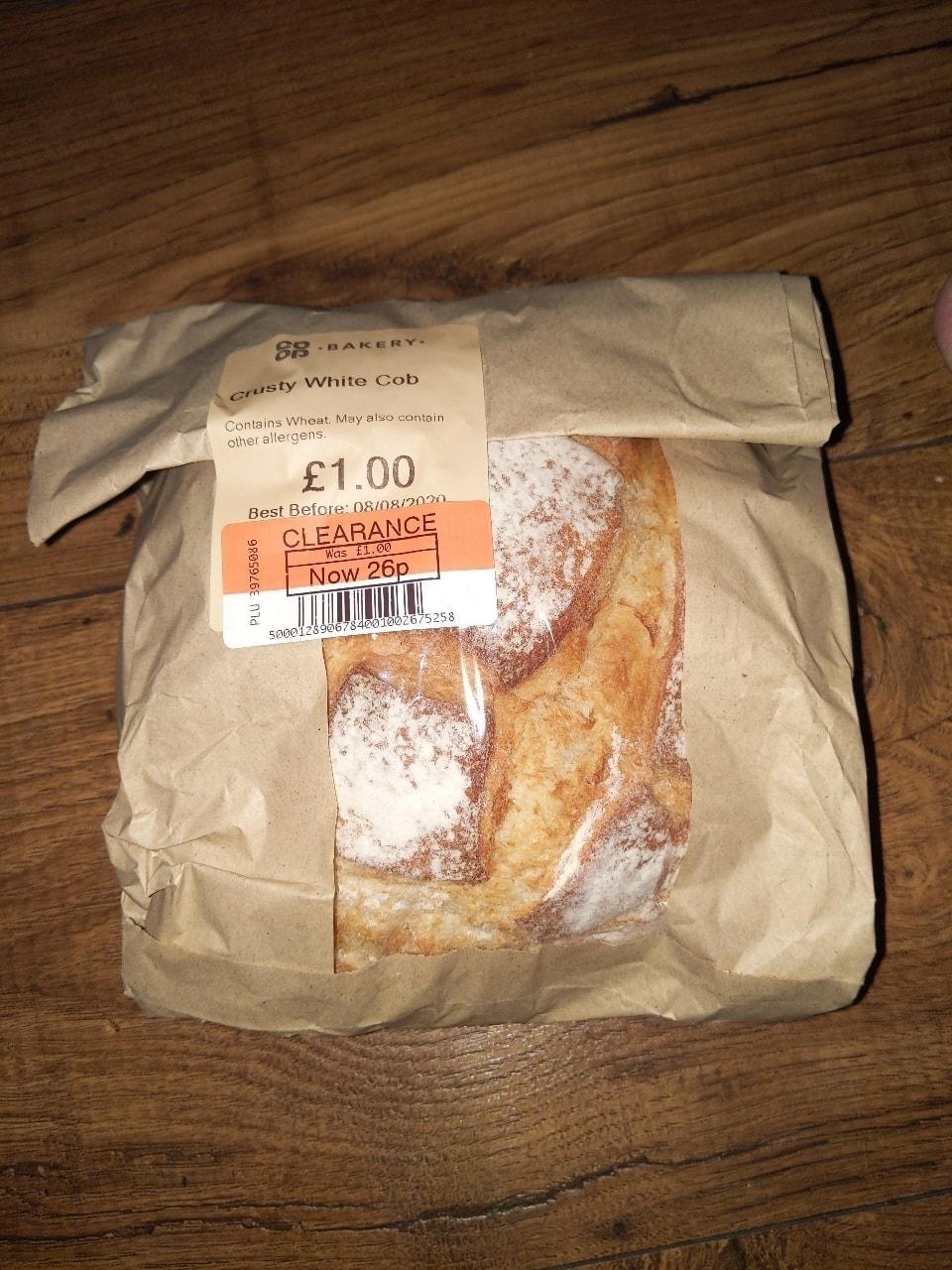 Large crusty white cob loaf