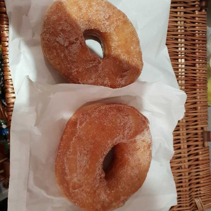 Two lovely huge ring doughnuts courtesy of Italian bistro Streatham