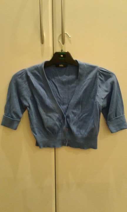 Size 8 M&S half, short sleeved cardigan blue