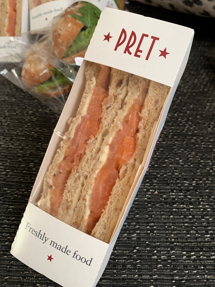 PRET Scottish smoked salmon sandwich